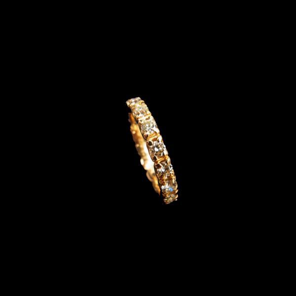フルエタニティ ダイヤモンド 0.8ct ピンキー リング 3.5号 K18PG【中古】