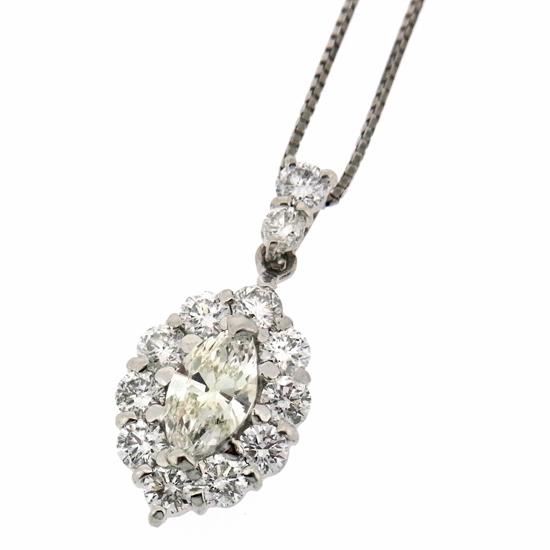 マーキーズ ダイヤモンド プチ ネックレス レディース K-VS1 ダイヤ0.548ct 他ダイヤ0.93ct プラチナ【中古】