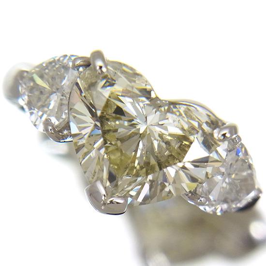 大粒4.100ct ダイヤモンド リング ハートシェイプカット Mカラー SIクラス 他ダイヤ1.11ct プラチナ【中古】