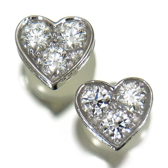 【中古】ハートモチーフ ダイヤモンド ピアス レディース プラチナ スタッドタイプ 上質ダイヤ0.30ct ラウンドカット