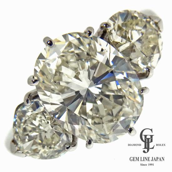 【美品】大粒3.525ct ダイヤモンド リング プラチナ SI1クラス オーバルカット レディース【中古】