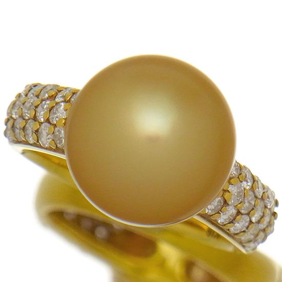 南洋ゴールデンパール12.2mm 指輪 良質ダイヤ0.68ct K18YGリング ラウンド系【新品】
