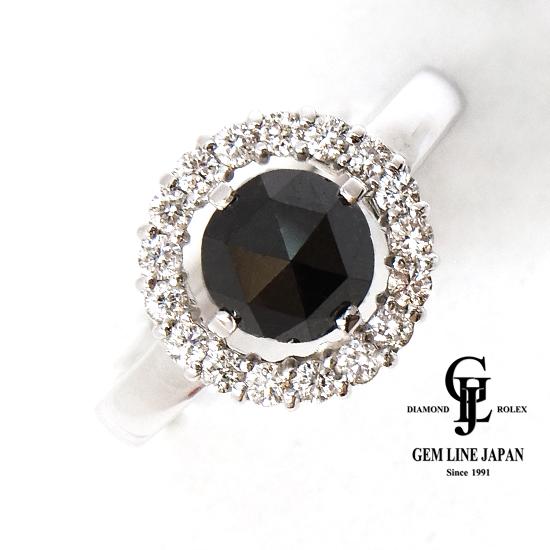 【新品】1.48ct ブラックダイヤモンド リング レディース ホワイトゴールド 他ダイヤ0.34ct