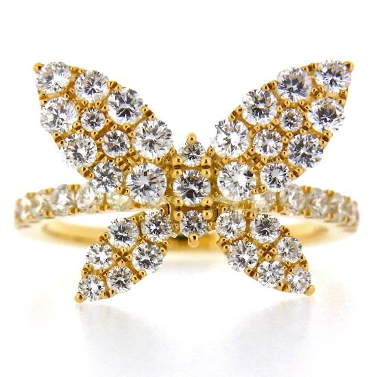 可愛い蝶々モチーフ バタフライ 上質ダイヤモンド1.26ct ラウンドカット K18YGリング【新品】