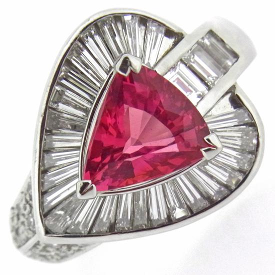 【中古】大粒ピンクサファイア2.52ct ダイヤモンド1.49ct プラチナリング