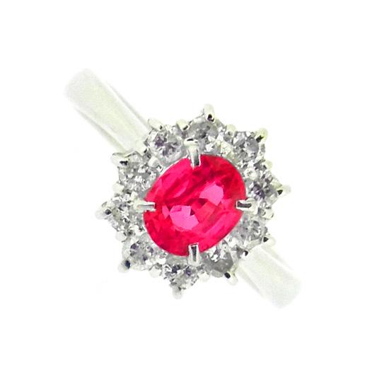 美しい紅色 オーバルカット ルビー0.50ct ダイヤモンド0.26ct プラチナリング【中古】