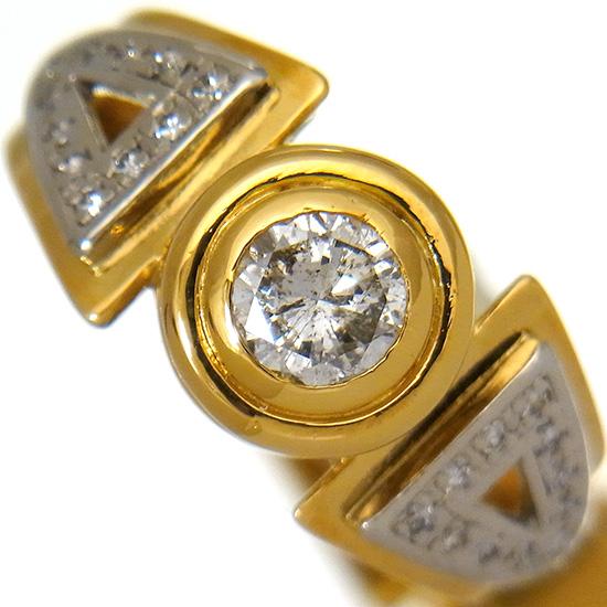 【中古】ダイヤモンド 指輪 メンズ ダイヤ0.73ct/0.24ct ラウンドカット K18/Pt900リング