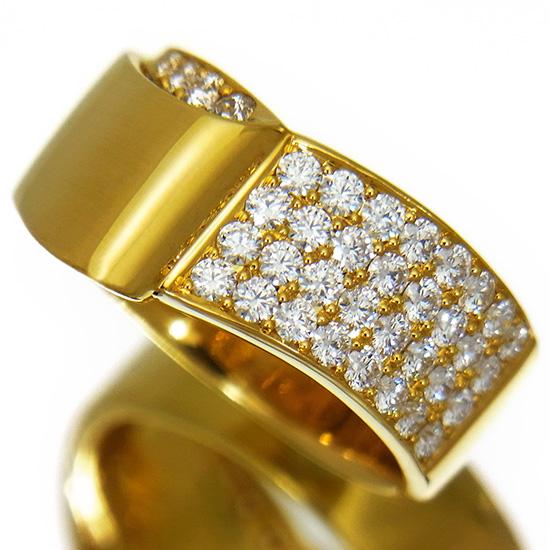 【中古】ダイヤモンド 指輪 レディース 全石ハート&キューピッド H&C パヴェダイヤ0.733ct ラウンドカット K18YGファッションリング