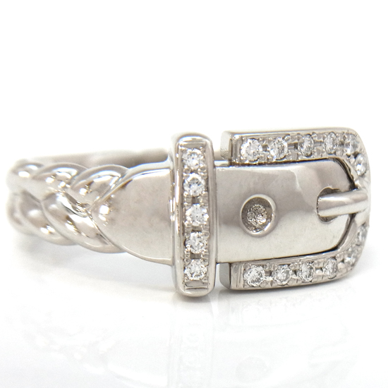 【中古】ベルトモチーフ ダイヤモンド0.13ct Pt850リング