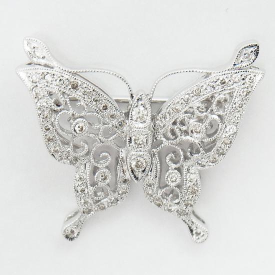 【中古】K18WGダイヤモンド0.4ct蝶ブローチ