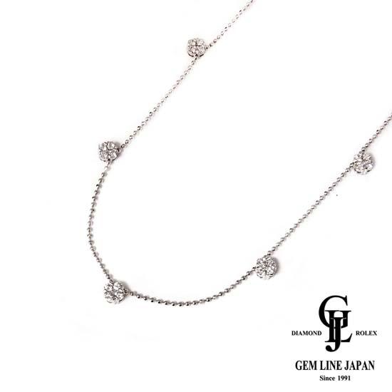 【中古】ダイヤモンド0.45ct K18WG ステーションネックレス