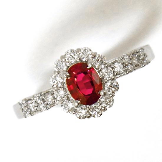【中古】GRJソーティング付き 天然ルビー0.37ct ダイヤモンド0.31ct Pt900プラチナリング