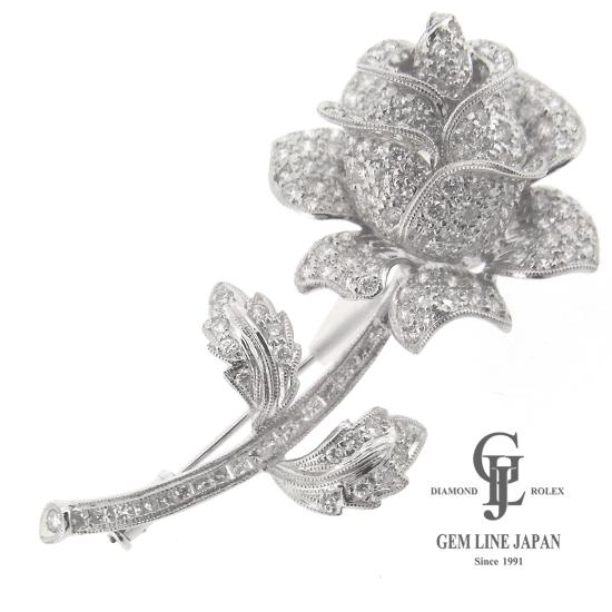 薔薇 ダイヤモンド ブローチ 18金 ホワイトゴールド フラワーモチーフ レディース【中古】