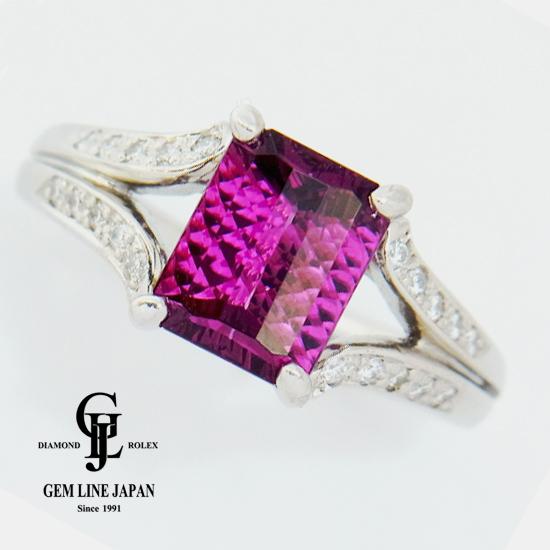 【中古】ガーネット2.55ct ダイヤモンド0.127ct Pt900プラチナリング GRJソーティング付き