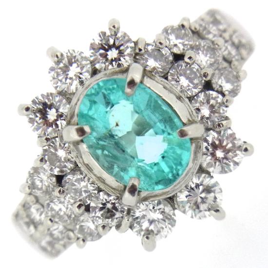 オーバルカット ネオンカラー トルマリン1.54ct ダイヤモンド1.44ct プラチナリング【中古】