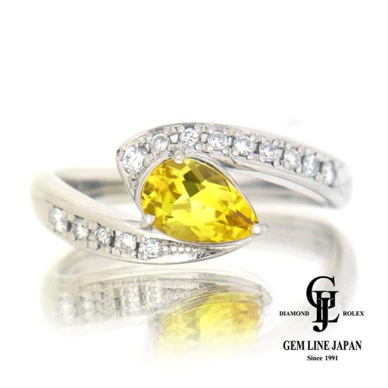 0.835ct カナリートルマリン リング レディース ダイヤモンド0.17ct プラチナ ペアシェイプカット【中古】