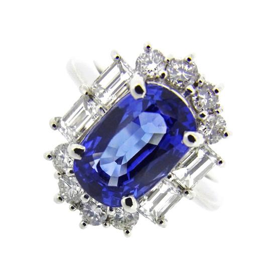 美しい大粒ブルーサファイア3.20ct 上質ダイヤモンド1.06ct プラチナリング