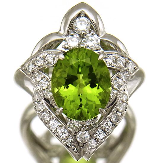 【中古】大粒ペリドット3.84ct 指輪 レディース プラチナ 上質ダイヤモンド0.64ct ファッションリング