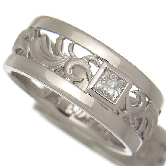 透かし彫りデザイン プリンセスカット 一粒ダイヤモンド0.22ct K18WGリング【中古】