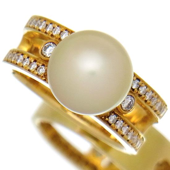 南洋パールリング 白蝶真珠10mm 良質ダイヤモンド0.31ct K18YG 指輪【中古】