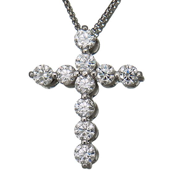 【中古】ダイヤモンド クロス ペンダント プチネックレス レディース プラチナ ダイヤ2.00ct ラウンドカット