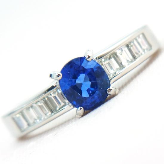 ブルーサファイア 1.19ct 指輪 レディース プラチナ 上質ダイヤ0.51ct【中古】