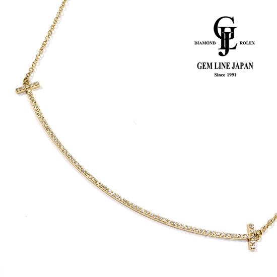 【中古】美品 TIFFANY&Co. ティファニー Tスマイル ペンダント ネックレス ダイヤモンド K18YG