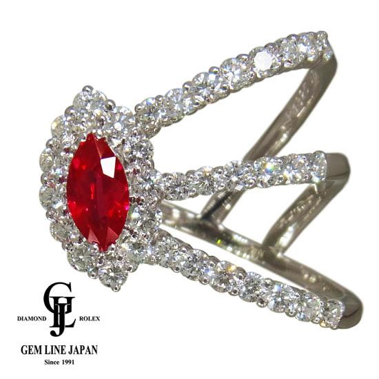 【中古】ギャラ付 カラッチ ルビー 1.320ct ダイヤモンド 1.75ct リング Pt900 16号
