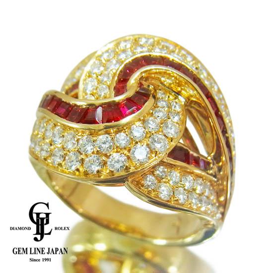 【中古】保証書付き ピキョッティ ルビー 1.29ct ダイヤモンド 1.48ct リング K18 15号