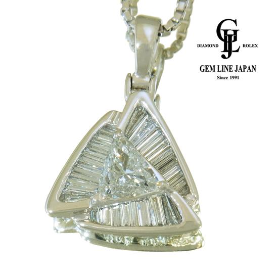 【中古】ダイヤモンド 0.80ct,1.09ct ネックレス レディース Pt900/850