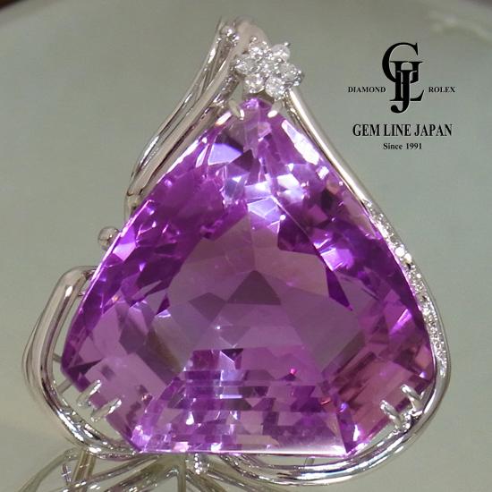 【中古】巨大 アメジスト 151.82ct ダイヤモンド 0.23ct トップ GRJソーティング付 レディース K18WG