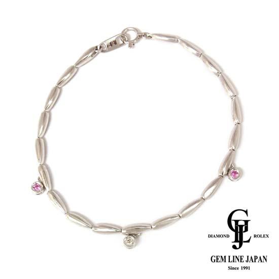 【中古】K18WG ピンクサファイヤ 0.09ct ダイヤモンド 0.03ct ブレスレット