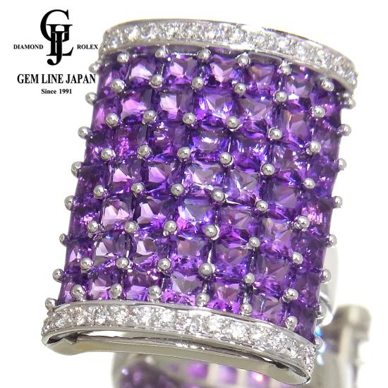 【中古】美品 アメジスト 5.90ct ダイヤモンド 0.52ct K18WG リング GRJソーティング付