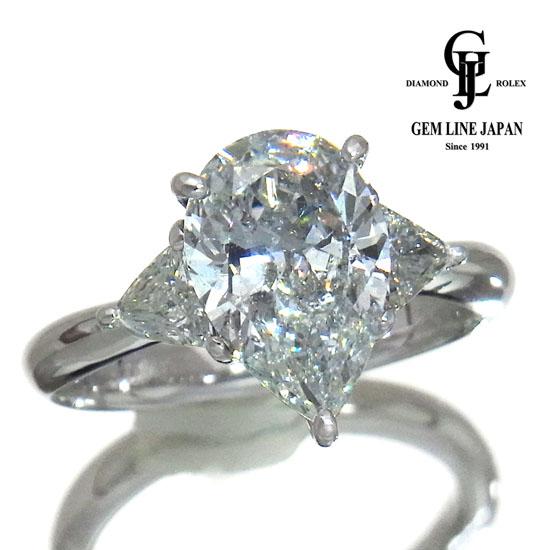【中古】Sランク F-SI2 ペアシェイプ 大粒 ダイヤモンド 2.585ct Pt900 リング