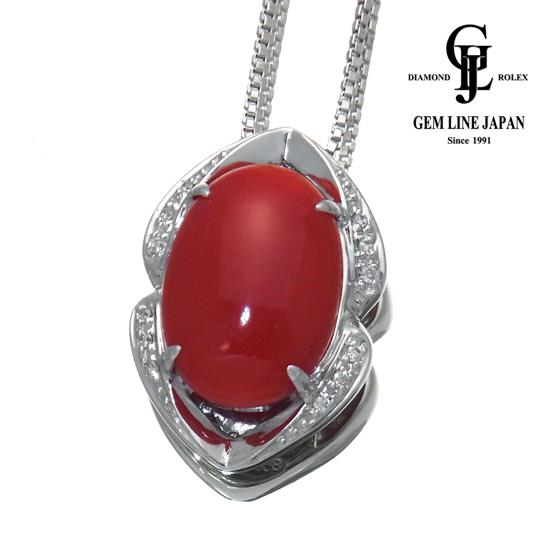 【中古】天然赤サンゴ 8.58ct ダイヤモンド 0.09ct K18WG ネックレス