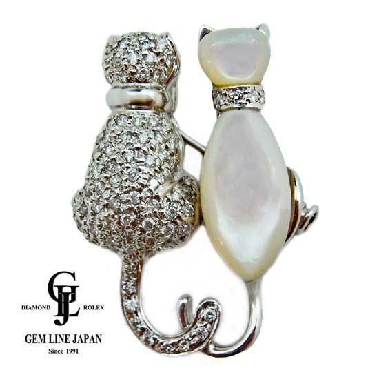 【美品】K18WG ダイヤモンド 0.73ct / 白蝶貝 ネコデザイン ブローチ