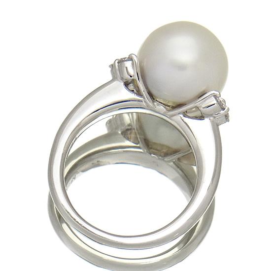 南洋真珠11mm 指輪 プラチナ ホワイト系 ラウンド 良質ダイヤ0 23ct レディースBrWdxeCo