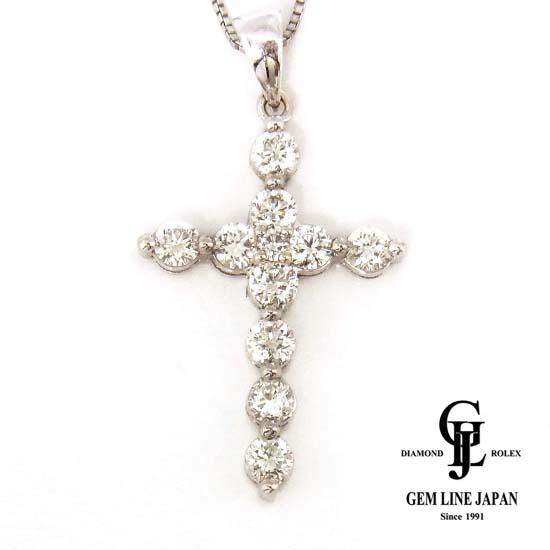 【中古】ダイヤモンド0.777ct K18WG クロスネックレス