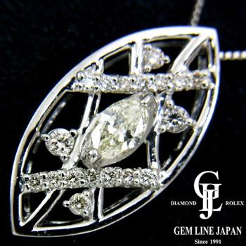 【新品】ダイヤモンド プチ ネックレス レディース K-VS2 マーキスダイヤ0.207ct プラチナ【グレード評価付き】