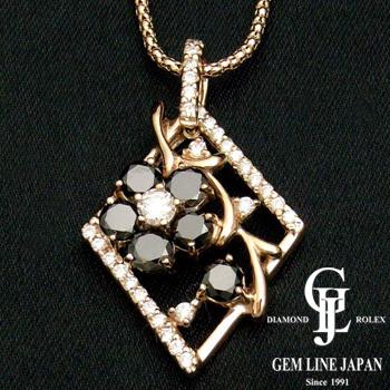 【新品】ブラックダイヤモンド プチネックレス レディース ピンクゴールド製 ダイヤ計1.45ct