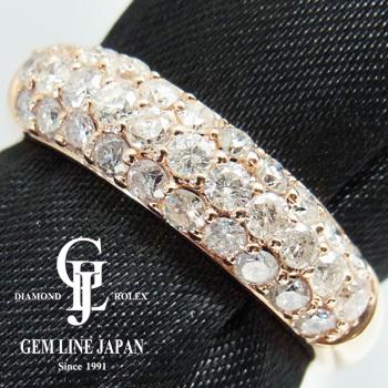 【新品】ダイヤモンド 指輪 レディース ピンクゴールド パヴェダイヤ1.00ct K18PGリング