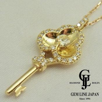 【新品】キーモチーフ ダイヤモンド 0.30ct プチ ネックレス K18YG