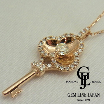 【新品】鍵モチーフ ダイヤモンド 0.30ct プチ ネックレス K18PG