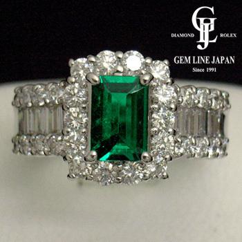 エメラルド 0.716ct ダイヤモンド1.46ct リング プラチナ