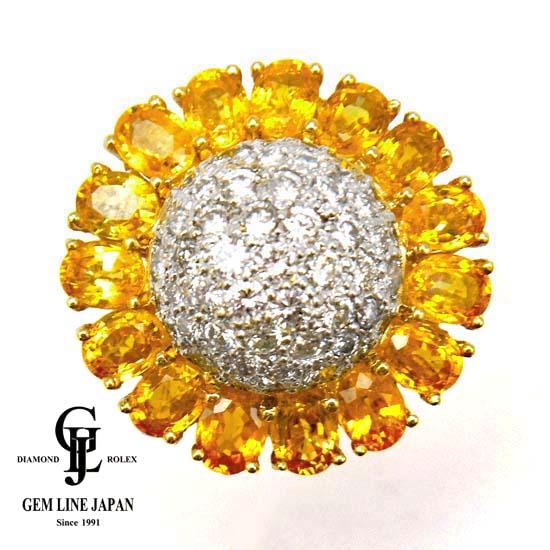 【中古】イエローサファイア 5.42ct ダイヤモンド 1.41ct K18 リング