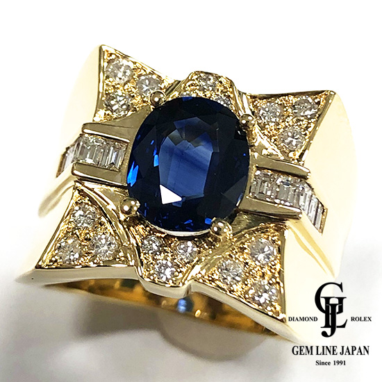 【中古】美品 K18 サファイア 2.818ct ダイヤモンド入り 19.70g メンズ リング