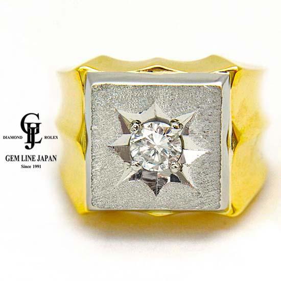 【中古】K18/Pt900 ダイヤモンド 0.56ct メンズ リング