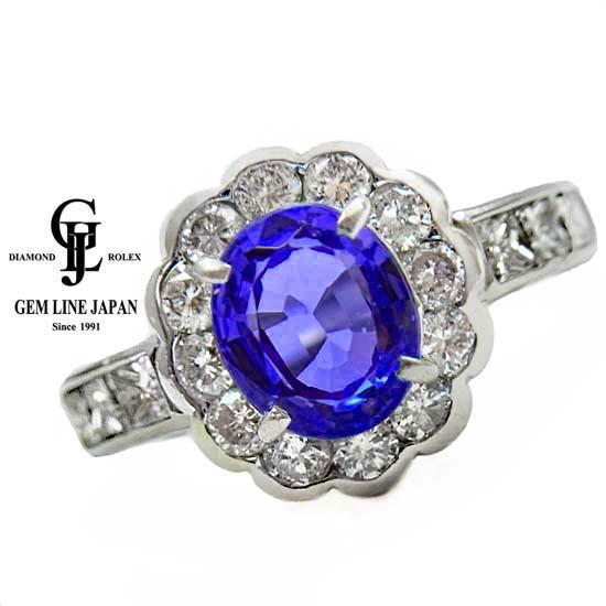 【中古】GRJソーティング付 タンザナイト 2.36ct ダイヤモンド 1.28ct プラチナ リング