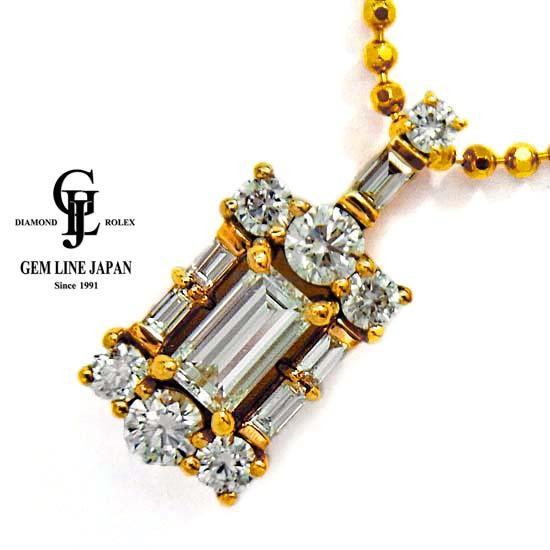 【中古】天然ダイヤモンド 0.304ct 脇石 0.40ct K18YG プチネックレス