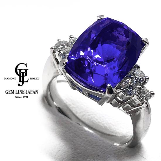 【中古】GRJソーティング付 大粒タンザナイト 12.12ct ダイヤモンド 0.63ct プラチナ リング